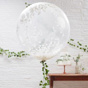 Grote confetti ballon Wit