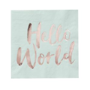 servetten hello world mint rosé goud