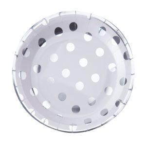 bord wit met zilver stippen