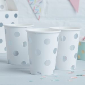 Bekers polka dot zilver stippen