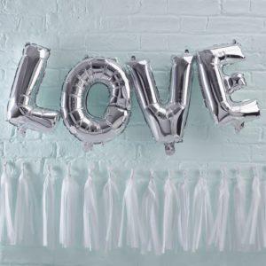 Folie ballonnen love zilver