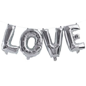 Folie ballon Love zilver