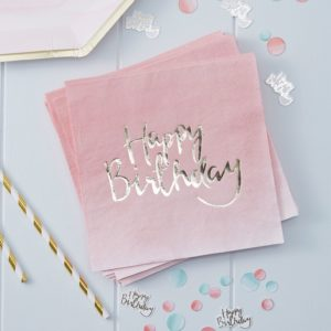 servetten happy birthday roze