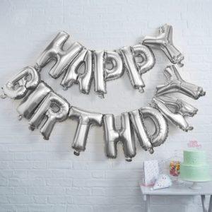 folie ballonnen happy birthday zilver